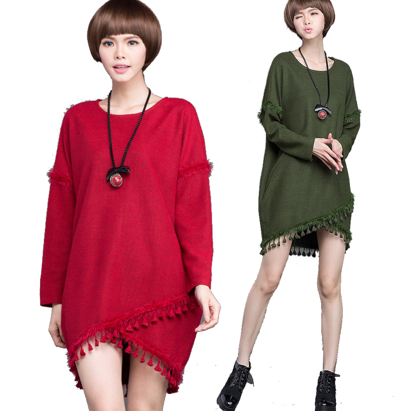 2015 Big Size Women knitted dress tassels loose spring autumn elegant plus size batwing sleeve asymmetrical casual vestidoXXXXXL