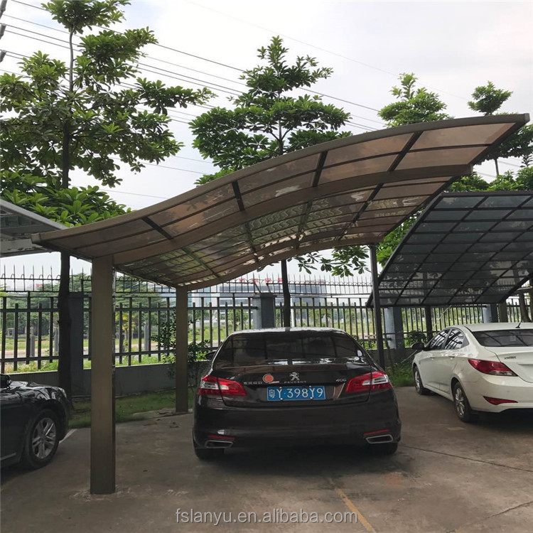 Lanyu transparent colored steel structure car parking roof design