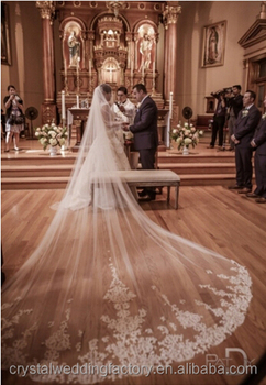 4 Meters White Ivory Beautiful Cathedral Length Lace Wedding Bridal Veils With Comb Long