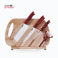 Sharp Kitchen Color Wooden Handle Ceramic 6pcs Chef Paring Knife Block Set With Chopping Cutting Board