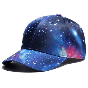 Fashion Custom Galaxy Sublimation Printed Caps 6 Panel Cotton Hard Hat