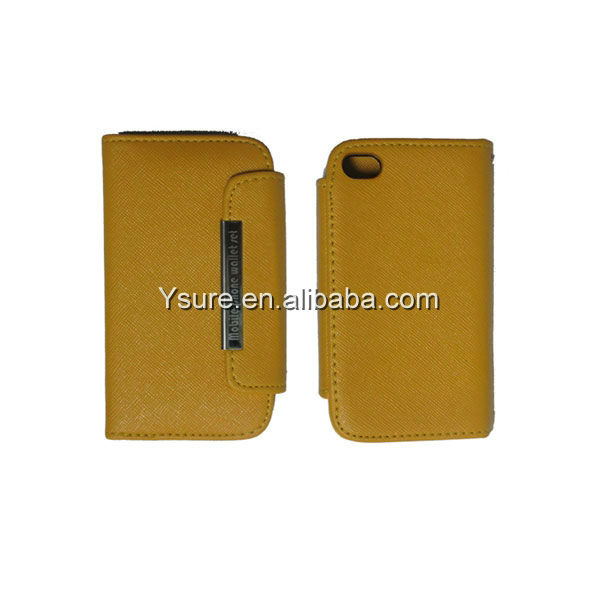 Book style wallet leather case for iphone4s with credit card slots yellow