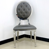 Exotic round back leather fabric home goods stainless steel dining chair