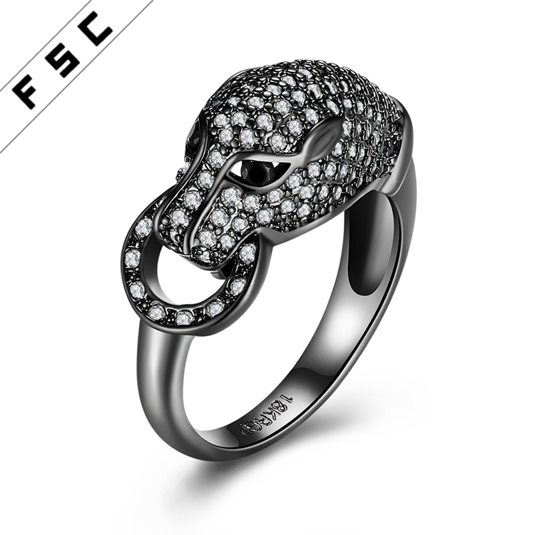 Black CZ Snake Design Finger Animal Shaped Rings