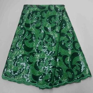 African Double Organza Lace High Quality Handcut Sequins Sequence French Tulle Swiss Organza green Lace 5Yards