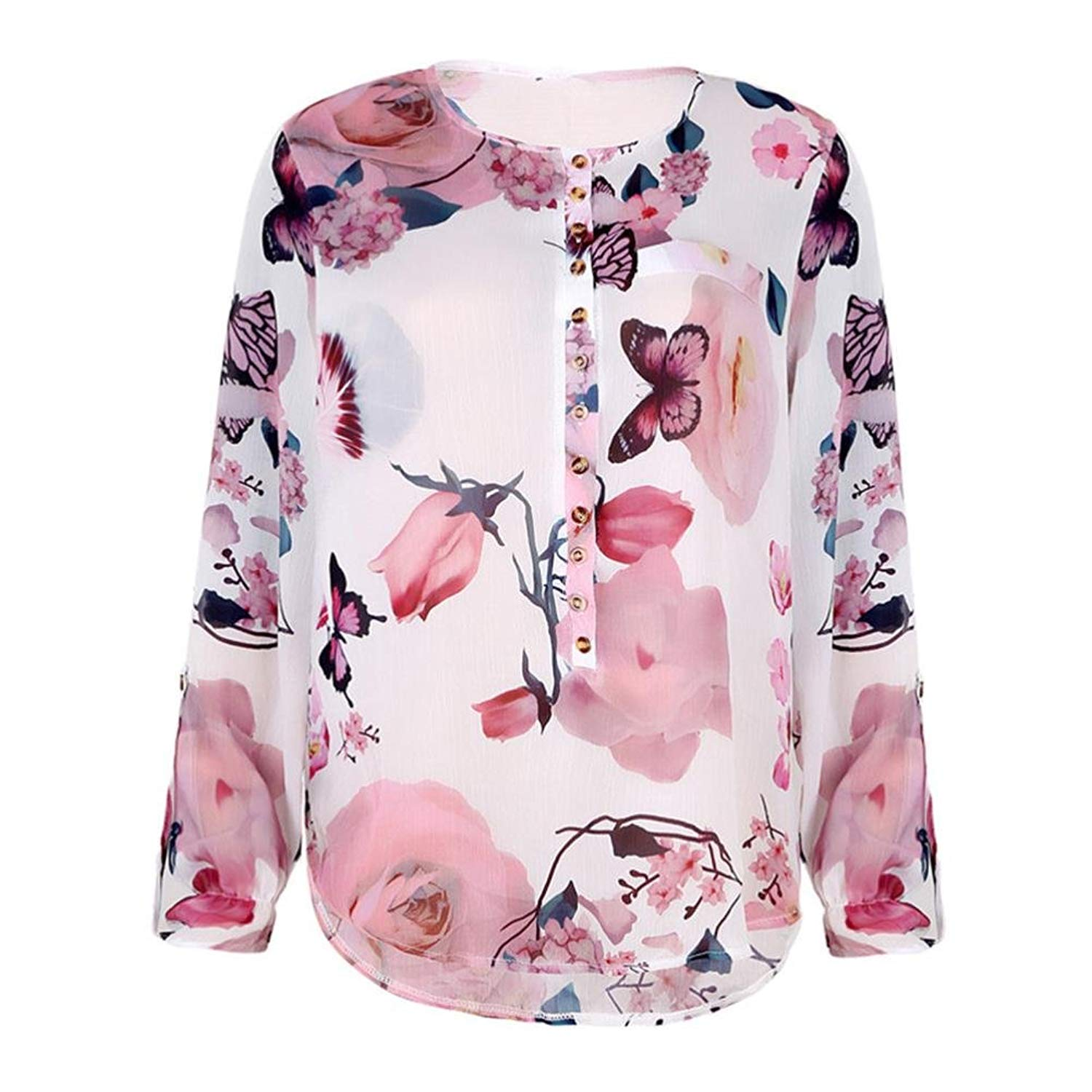 Feitengtd WomensFloral Print V Neck Tunic Tops Blouses Casual Tops Long Sleeve Chiffon Loose Blouse Tops