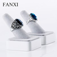 FANXI custom silver wooden finger shape soild wood jewelry diisplay stand rings holder organizer for showcase ring exhibitor