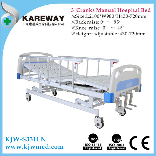 Hot Sale Three Functions Manual Hospital Patient Bed With Standard