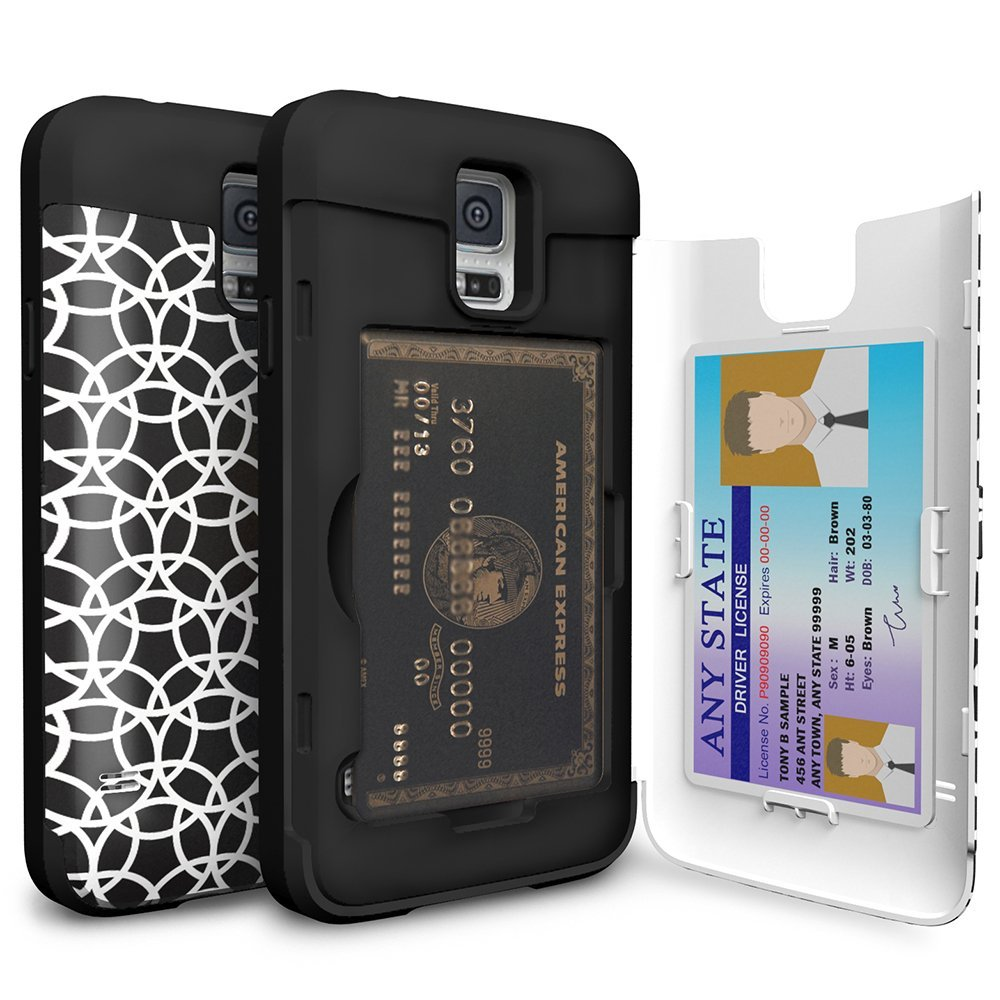Galaxy S5 Case, TORU [CX PRO] - [CARD SLOT] [ID Holder] [KICKSTAND] [DESIGNER PATTERN] Protective Hidden Wallet Case with Mirror for Samsung Galaxy S5 - Circle Geo (21S5TCXP-CG)