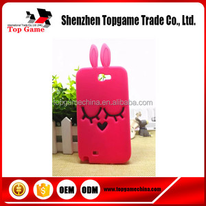 For Samsung Galaxy Note 2 Case Cute Smile Rabbit Rubber Back Cover For Samsung Note 2 N7100 Case