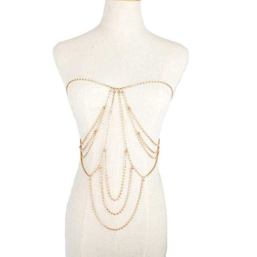 36b3b0610663b Get Quotations · Jewelry Chain Opeof Women Sexy Rhinestone Body Chain  Bikini Bra Necklace Nightclub Beach Jewelry - Golden