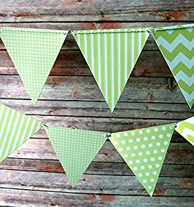 Quasimoon Light Lime Mix Pattern Triangle Pennant Banner (10 PACK) by PaperLanternStore