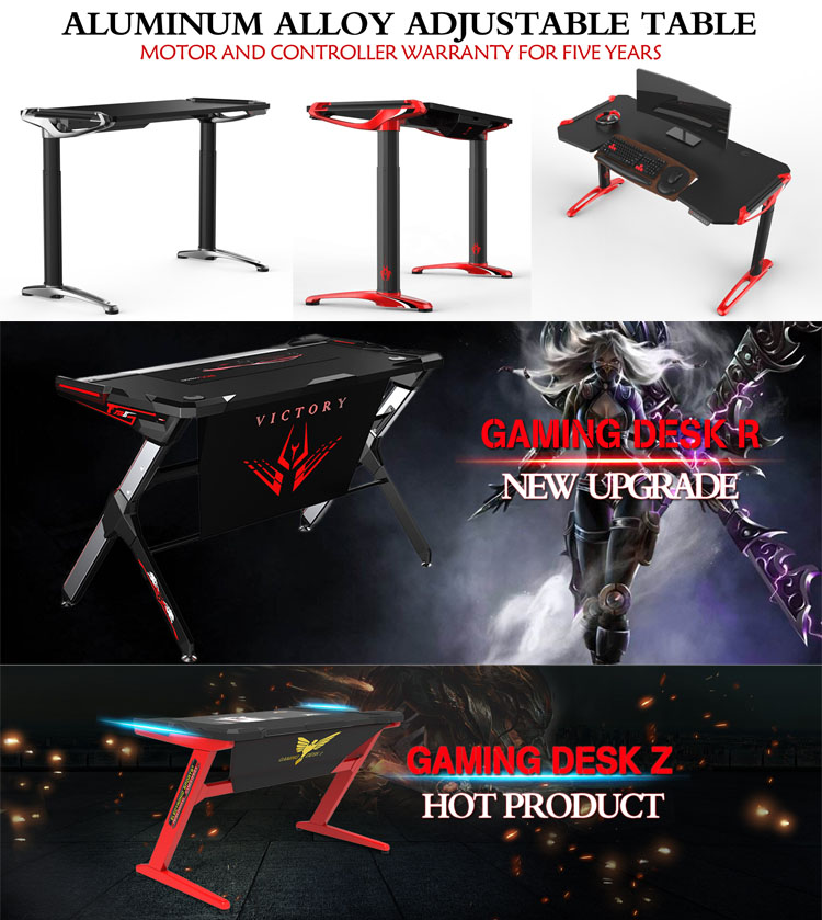 2017 Latest design RGB LED strip best PC computer gaming desk mordern table