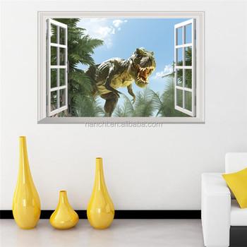 3d Windows Dinosaur Tree Wall Decals For Kids Children Room Home ...