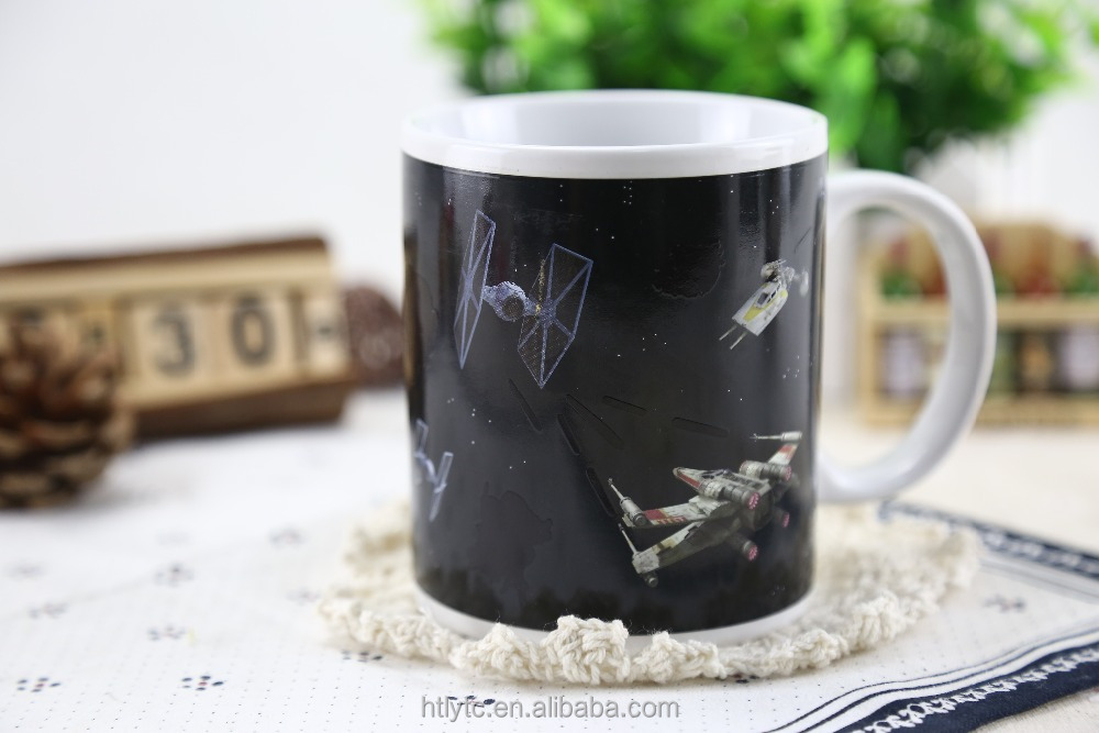 Hot sale promotional gift lovely carton creative design heat reactive color changing ceramic coffee tea mug