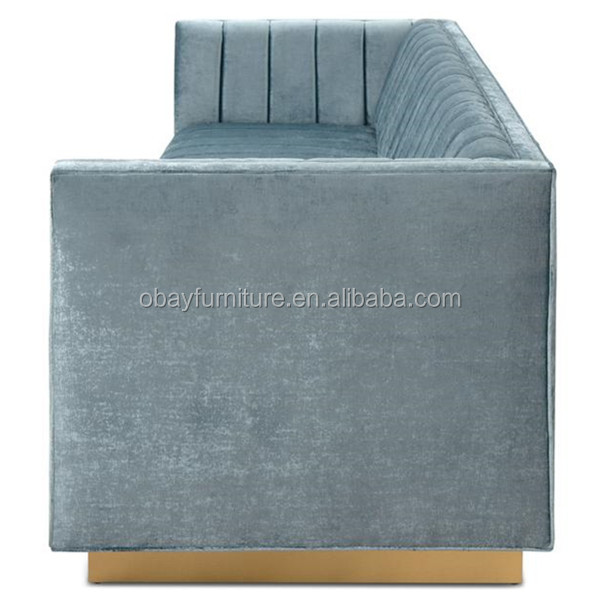Americal hot sale channel tufted sofa for wedding event, gold stainless steel base event sofa