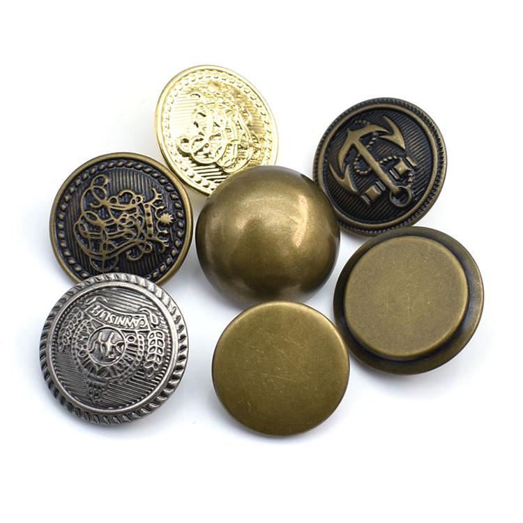 Wholesale price Custom design fancy Zinc Alloy army uniform suit 30mm coat gold blazer shank buttons metal