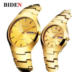 Gold couple watches japan quartz movement all stainless steel luxury watch