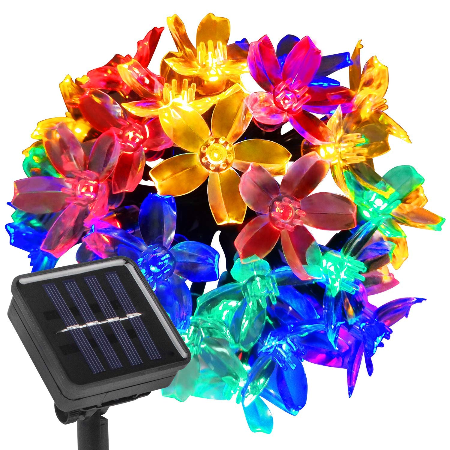 Beinhome Solar String Lights Outdoor, 21.3 Feet 30 LEDs Waterproof Flower Solar Fairy Lights - 8 Modes Multi Color Shining LED Solar Lights Outdoor Garden Patio Fence Roof Tree Christmas Decoration