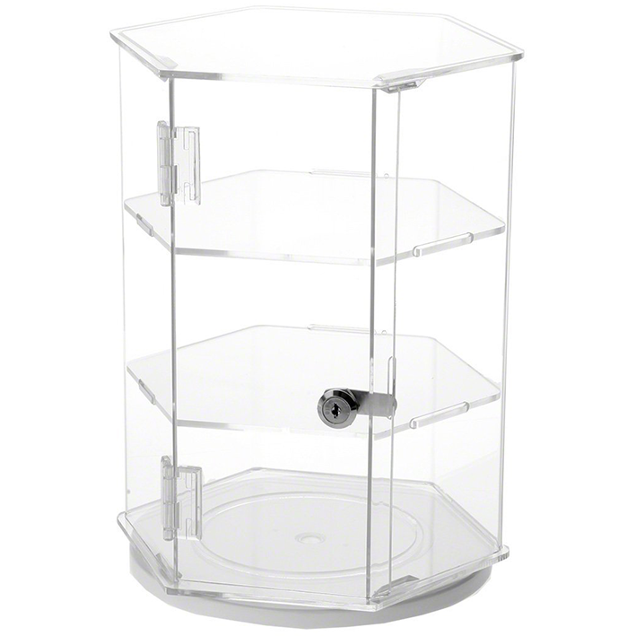 Hexagonal 2 Shelves Locking Rotating Base Watch Ring Glass Acrylic Counter Display Box Case