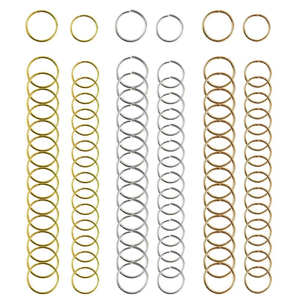 Hestya 90 Pieces Braid Rings Hair Hoops Braid Clip Accessories 3 Colors 2 Sizes