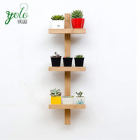Wall-Mounted Bamboo Flower Rack, Hanging Display Plant Stand