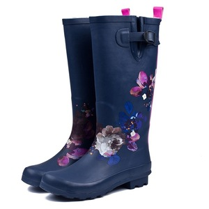 Mid Calf Buckle Strap Snow Warm Round Toe Rainboots, Fashional Rubber Rain Boots