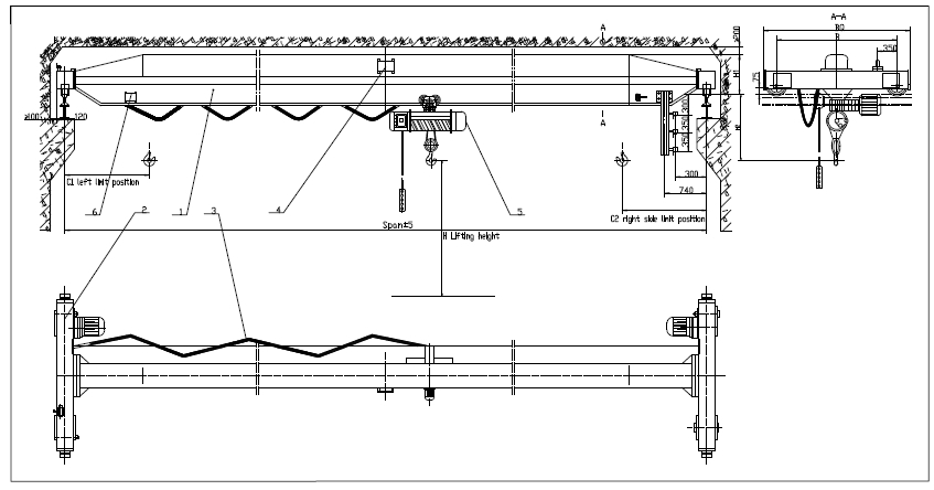 Single Girder Eot Crane Drawing : Single girder ceiling mounted ton overhead crane price