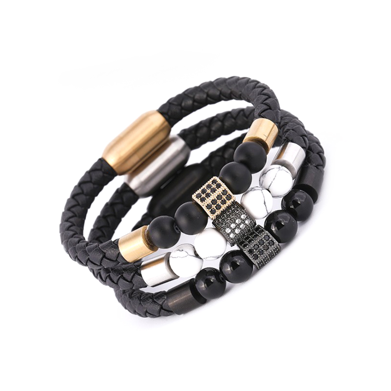 BESHINE JEWELRY Top Selling Spiritual Braided Leather Mens Beaded Bracelet, Black/white/brown/flower color /original;any color can be customizable