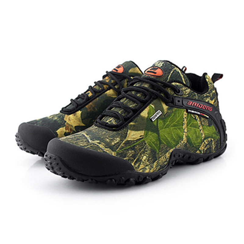 2015 Genuine Leather Men's Shoes Men Hiking Shoes Outdoor Professional Climbing Shoe Waterproof Sneakers Camouflage Camping shoe