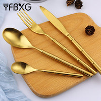 new product ideas 2018 gold flatware set bamboo metal stainless steel cutlery set spoon knife fork