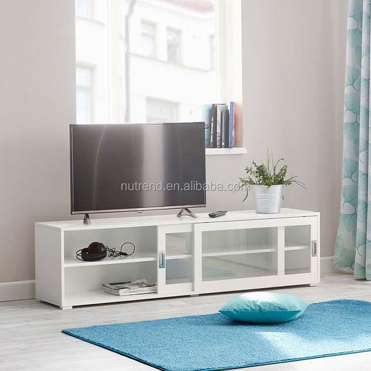 Vendita Mobili Per Corrispondenza.Di Legno Mobile Porta Tv Moderno Con Vetro Porte Scorrevoli Bianco