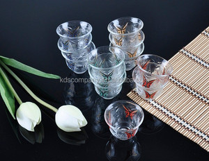 butterfly decal glass tea cawa cup hot sale and beautiful