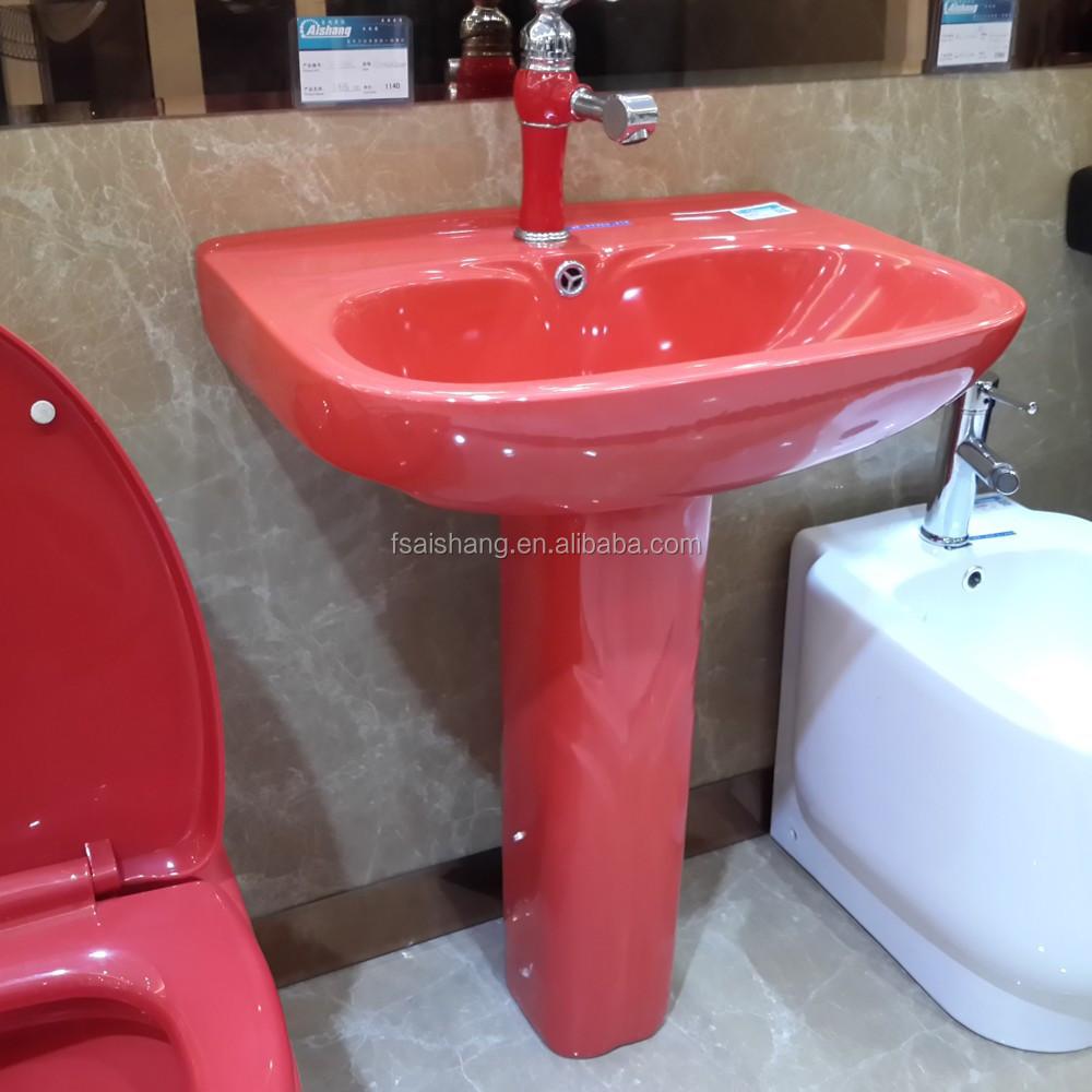جودة عالية السيراميك أحمر اللون حوض الأدوات الصحية الصين أحواض