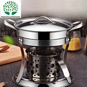 Popular Chinese Small Restaurant Stainless Steel Mini Hot Pot with Alcohol Heater
