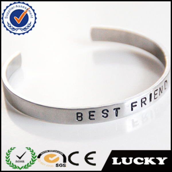 Personalized OEM engraved stamping plain cuff bangle bracelet