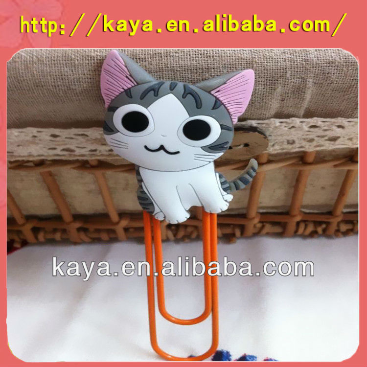 Attractive plastic pvc paper <strong>clips</strong> with cat design