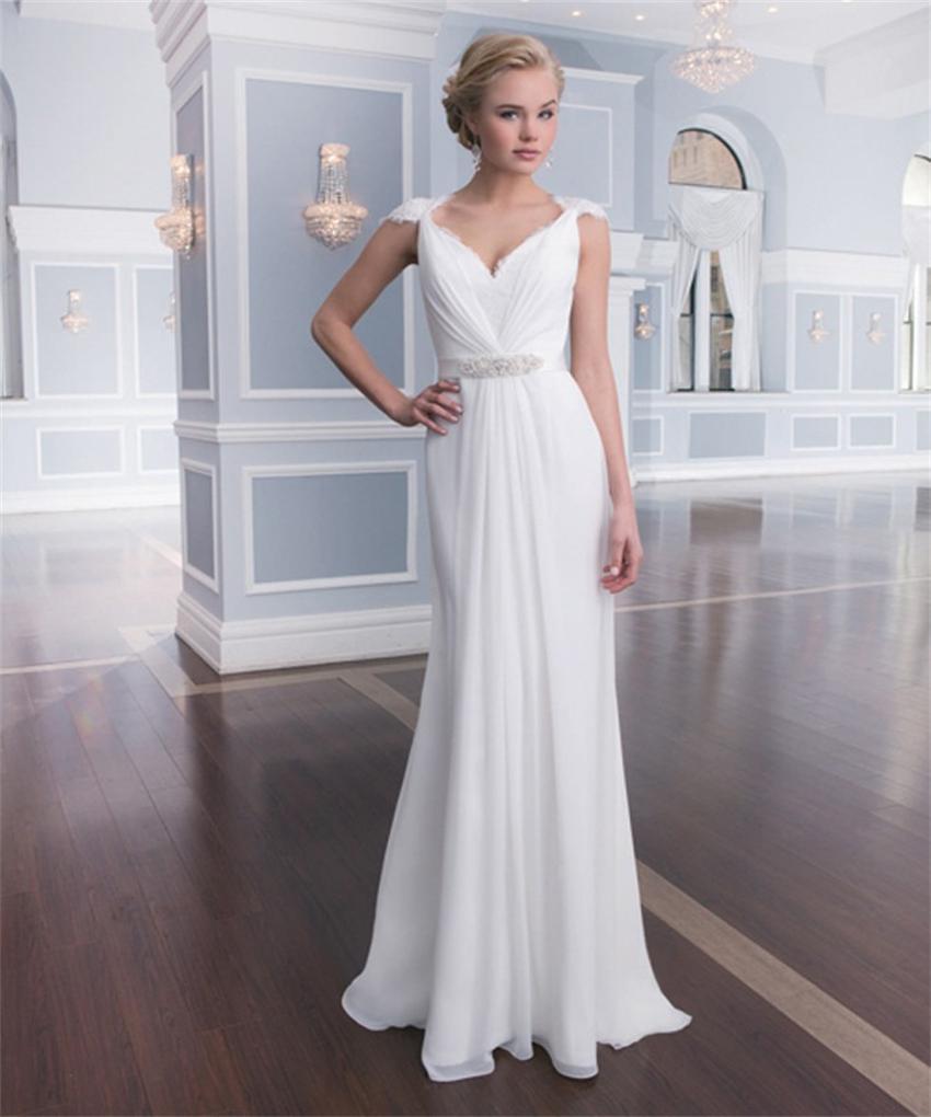 20 Elegant Simple Wedding Dresses Of 2015: 2015 Elegant Cap Sleeve Chiffon Bridal Dresses Floor