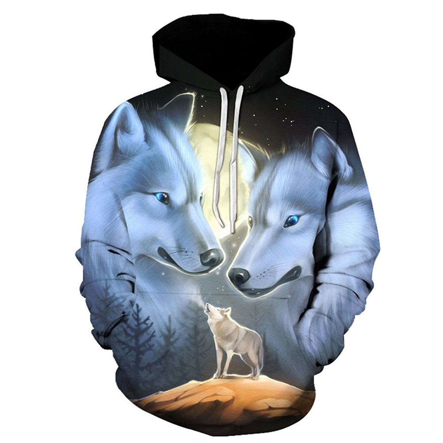 Men Sports Apparel buybuybuysell Wolf Hoodies 3D Hoodie Men Women Hooded High Street Pullover 3DPrinted New