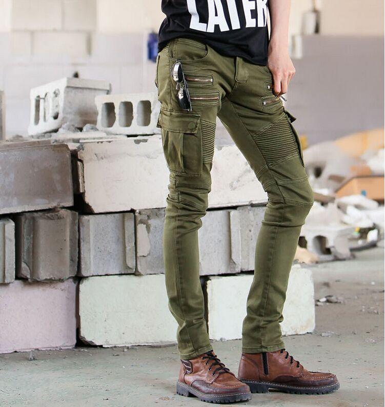 Pantalones Vaqueros Skinny De Motorista Hip Hop Para Hombre