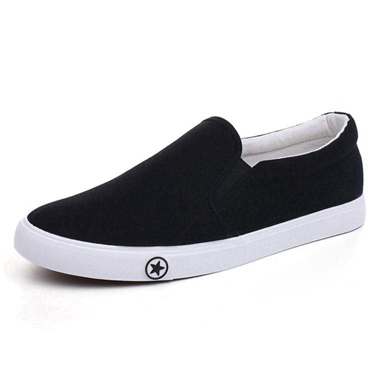 Wholesale Black Men White Canvas Shoes
