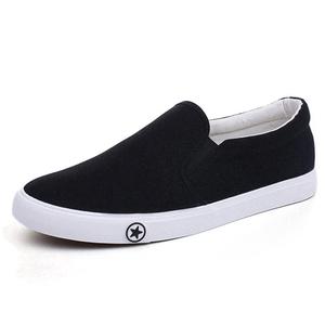 Wholesale black men white canvas shoes skateboard slip on sneakers