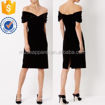 3724f132cd32 Black Velvet Off-the-shoulder Knee-length Dress High End Oe High End ...