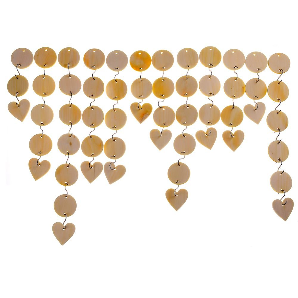 "(152 Pack) 60 Pcs Unfinished Solid Wood Pendants Round Wooden Circle Disc 1-1/2"" with 2 Holes and 12 PCS 1-1/2"" Wooden Birthday Wood calendar Board Tags Hearts and 80 Pcs 1 Inch S Hook Connectors"
