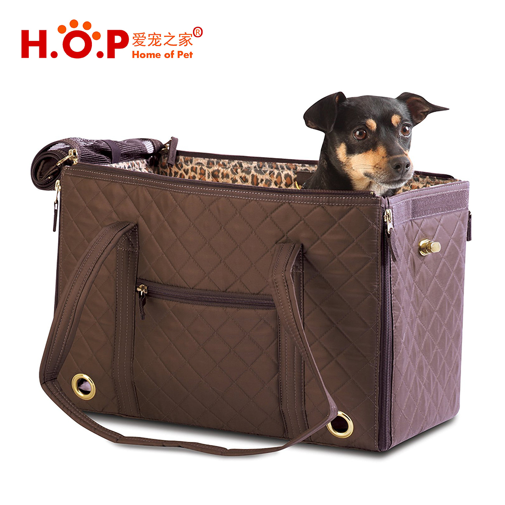 Wholesale Quilted Collapsible Soft Sided Travel Pets Tote HandBag Dog and Cat Pet Carrier