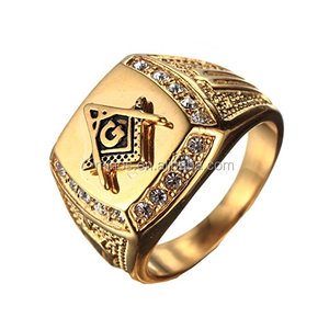 China Manufacturer Latest Gold Finger Ring Designs,Men's Cubic Zirconia Masonic Gold Plated Stainless Steel Rings