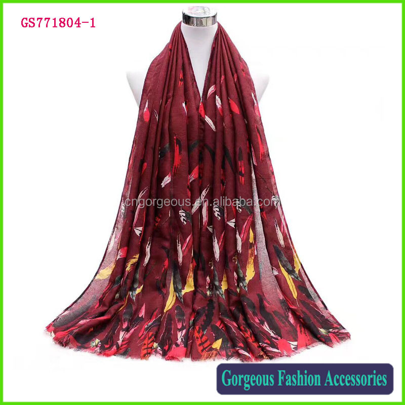 Very beautiful lady scarf printed peacock feathers stylish satin shawl