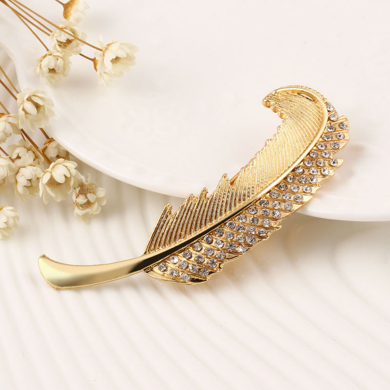 Fashion gold plated Silver retro Rhinestone Crystal feather hair clip spring clip hairpin jewelry accessories for women YW043