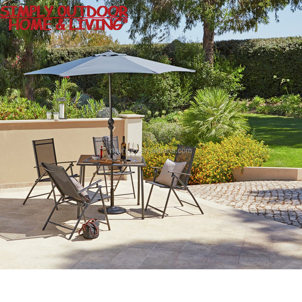 Leisure Ways Outdoor Patio Furniture 4 Seater Square Glass Garden Dinner Table Set with Parasol