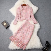 autumn Tweed formal suit winter Trendy High Class Womens Tweed Business Suits